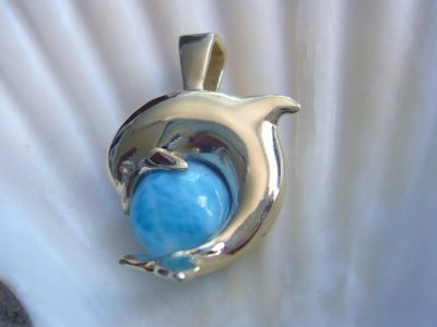 Larimar Dolphin Circle Pendant