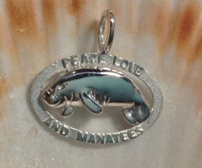 Peace Love And Manatees Pendant