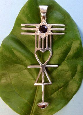 Premapranahuti Symbol Pendant-Silver w/ Sapphire & Diamonds