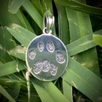 Tiger paw print pendant in silver-antique finish