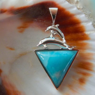 Triangle Larimar/Mom&Baby Silver dolphins