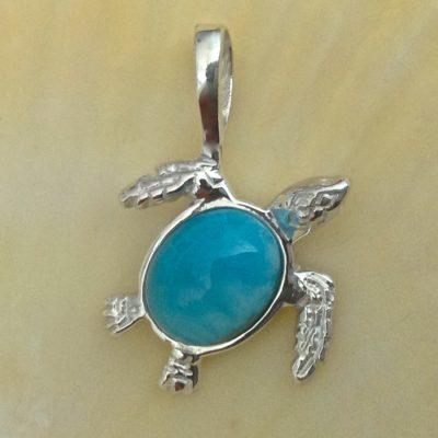 Larimar Turtle-Silver, 8x10 stone